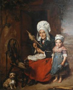The Grandmother and her spinning wheel. Artist Elizabeth Emma Soyer