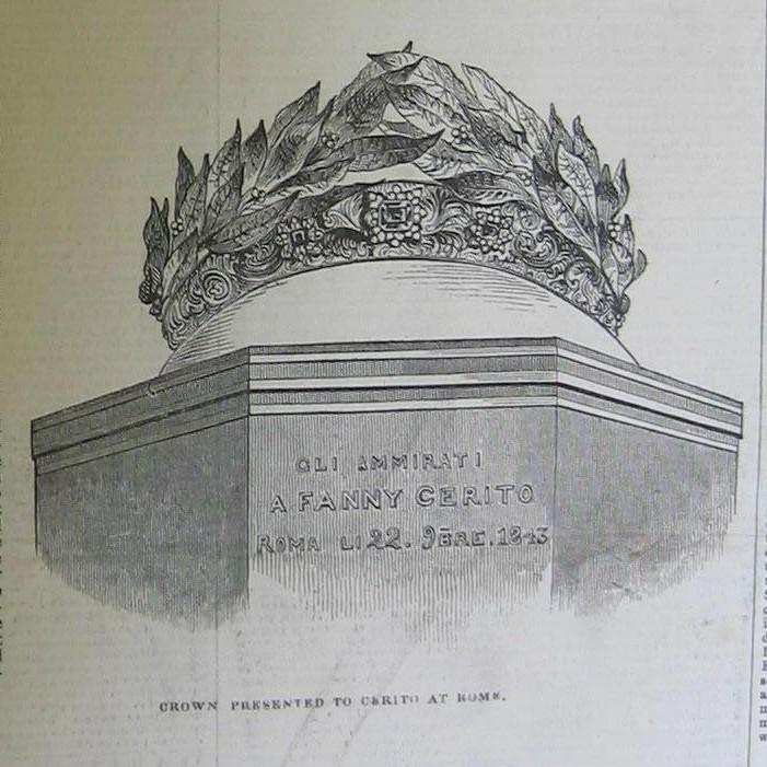 Wreath presented to Fanny Cerrito